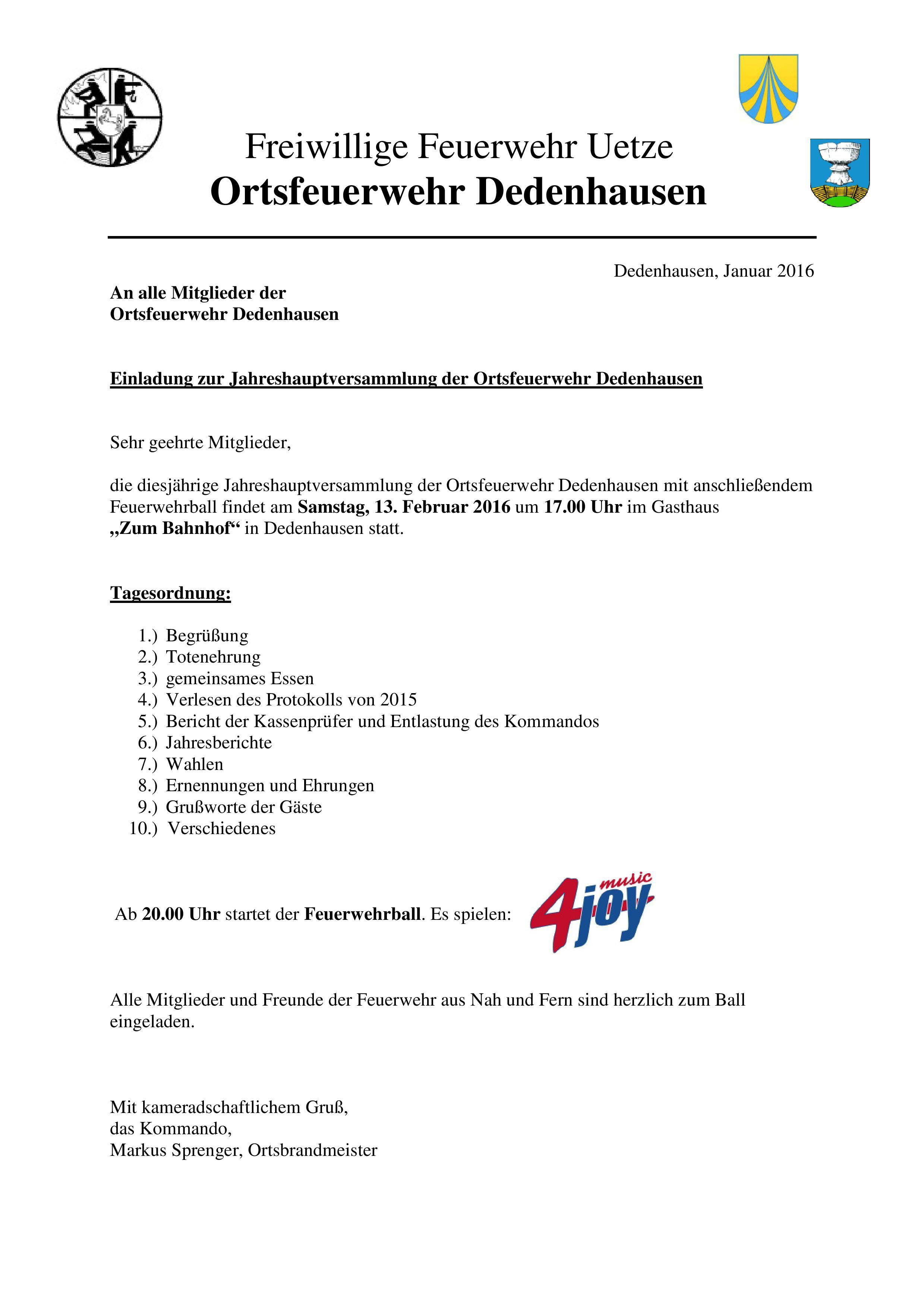 ortsfeuerwehr dedenhausen |, Einladungen