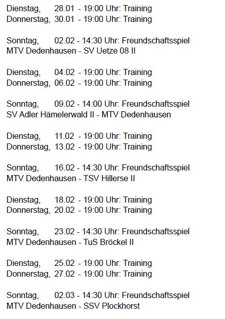 Vorbereitung Rückrunde 2013-14