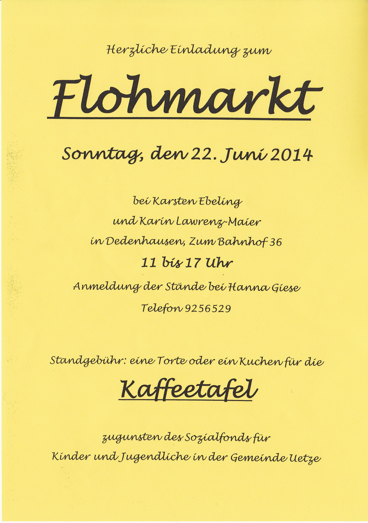 dedenhausen online einladung flohmarkt. Black Bedroom Furniture Sets. Home Design Ideas