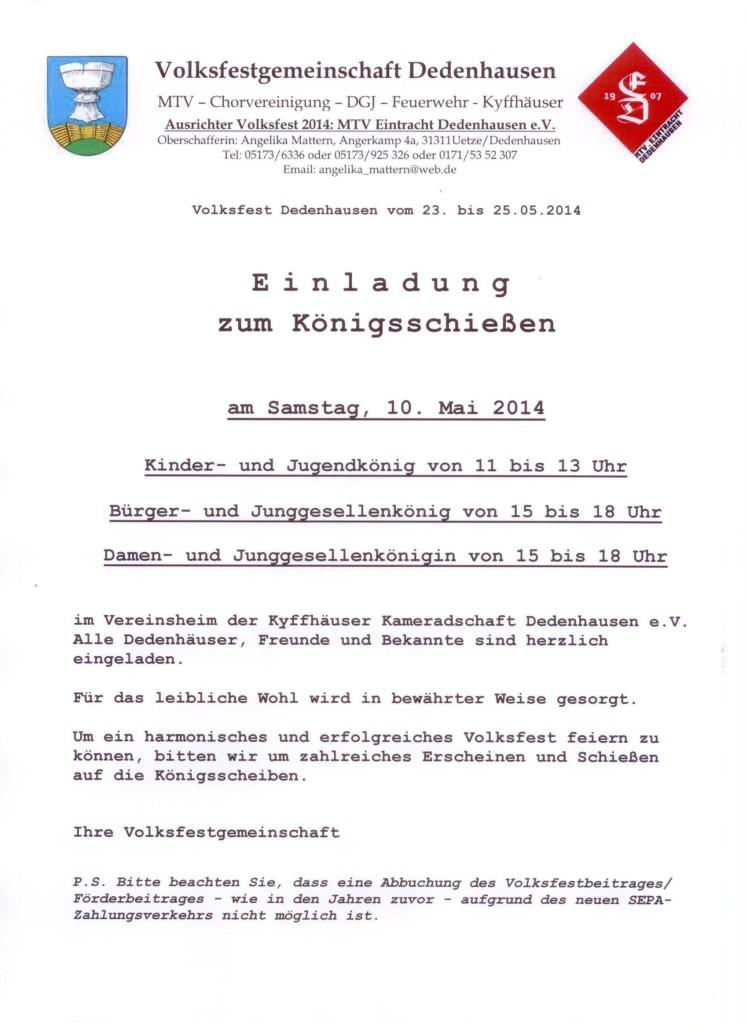 Plakat Königsschießen 2014
